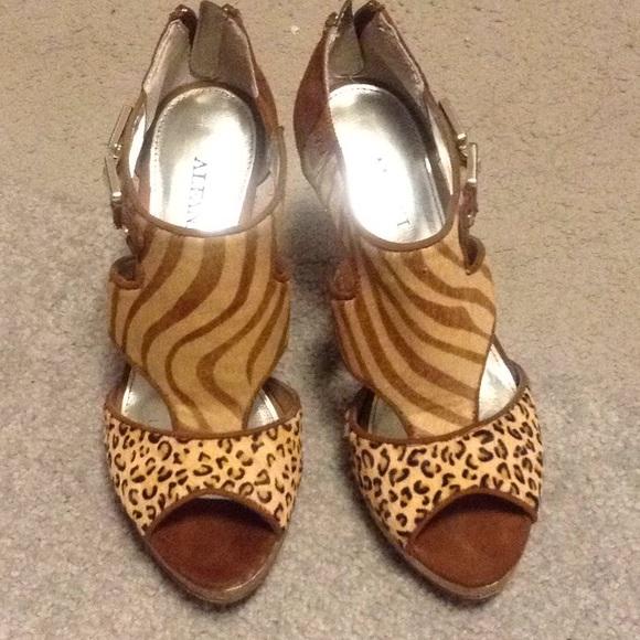 Alfani Shoes - Alfani calf hair animal print heels
